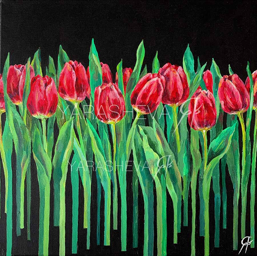 картина тюльпаны для интерьера