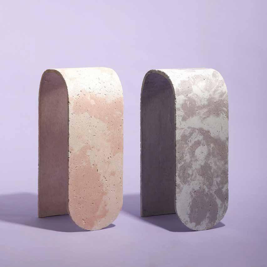 Изогнутые табуреты от J Byron-H сделаны из пастельного бетона