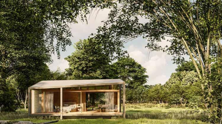 На Бали начинается строительство крошечного домика из переработанных материалов, предоставлено Stilt Studios