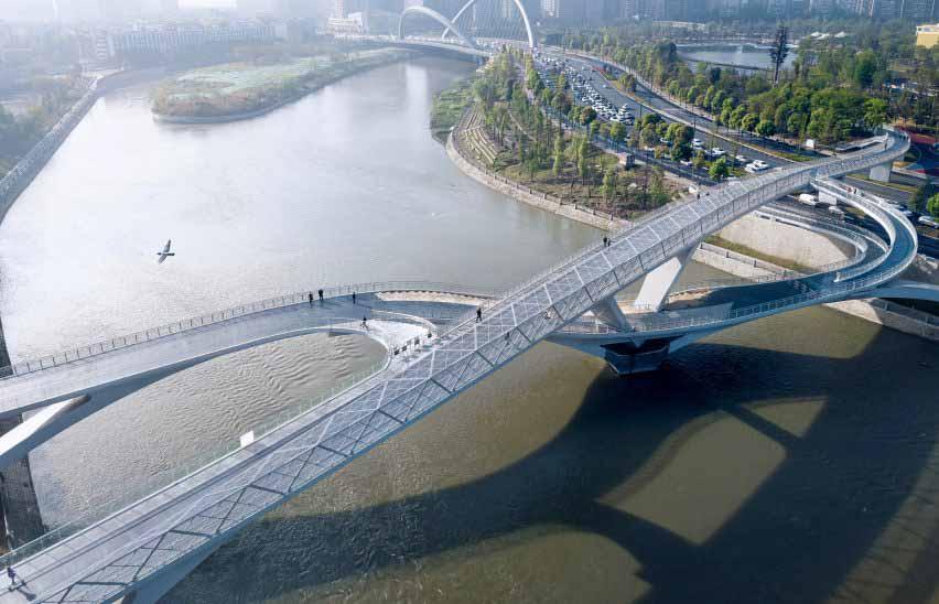 Мост Wuchazi создает «бесконечный извилистый путь» через реку в Чэнду