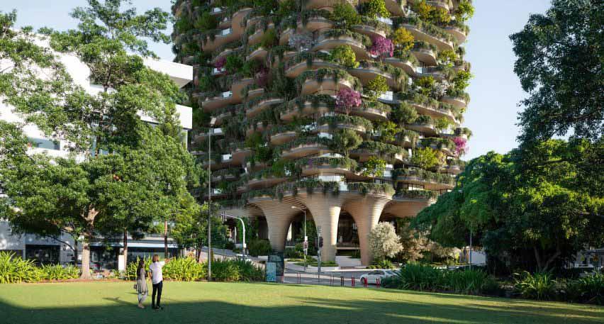 Основание многоэтажного жилого дома Urban Forest в Брисбене от Koichi Takada Architects