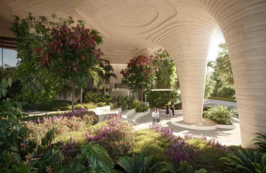 Парк у подножия многоэтажного жилого дома Urban Forest в Брисбене от Koichi Takada Architects
