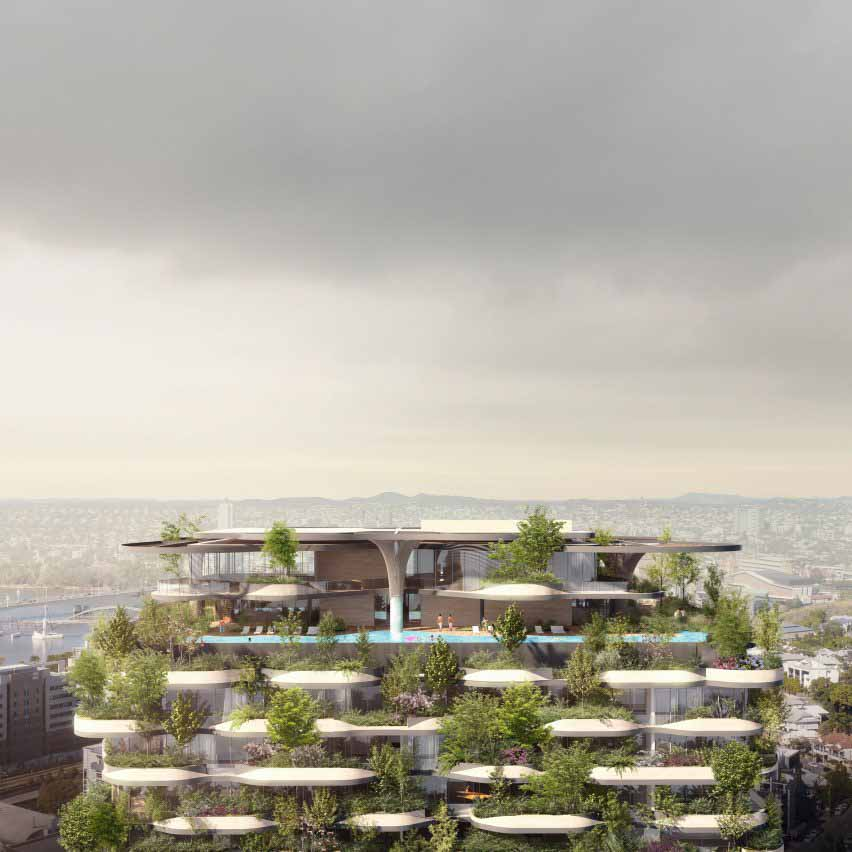 Сад на крыше многоэтажного жилого дома Urban Forest в Брисбене от Koichi Takada Architects
