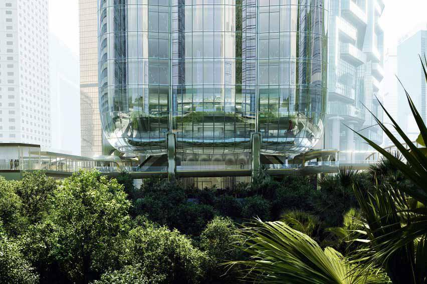 Небоскреб в Гонконге, возвышающийся над землей