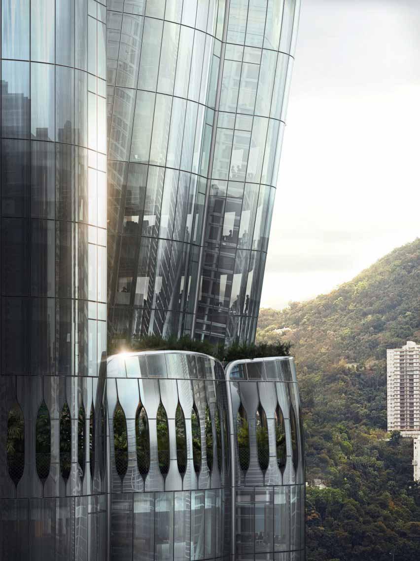 Небоскреб в Гонконге на Мюррей-роуд, 2 с засаженными деревьями балконами