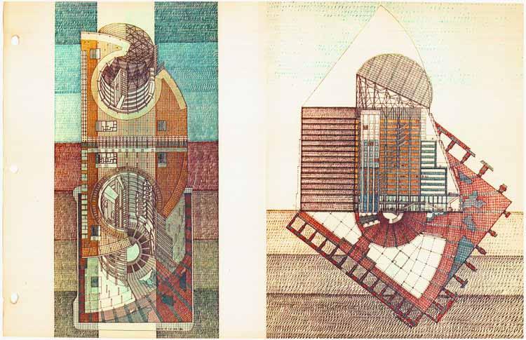Трехмерные виды здания, нарисованные Гельмутом Яном, получившие похвалу от Стэнли Тайгермана в документальном фильме Натана Эдди. Изображение предоставлено Гельмутом Яном