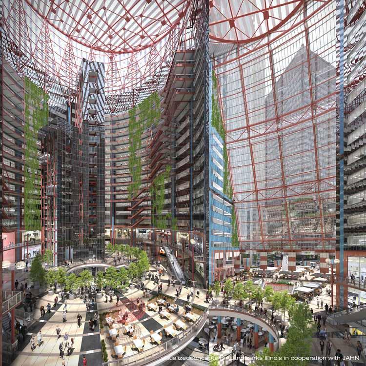 Предлагаемый план, который открывает центральный атриум для публики с торговыми площадями и ресторанами. Изображение предоставлено Гельмутом Яном