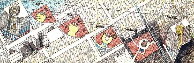 Планы и перспективы проекта, нарисованные Гельмутом Яном в 1980-х годах. Изображение предоставлено Гельмутом Яном