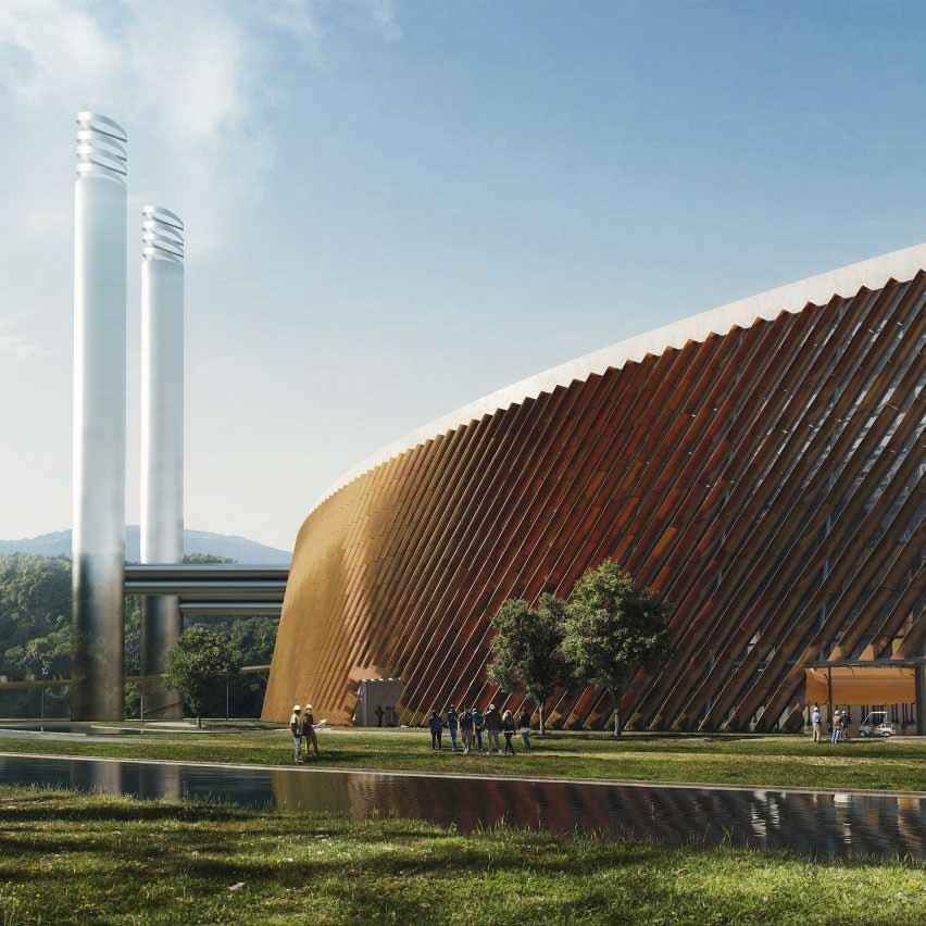 Визуализация завода по переработке отходов в Шэньчжэнь Восток в Китае от Schmidt Hammer Lassen Architects