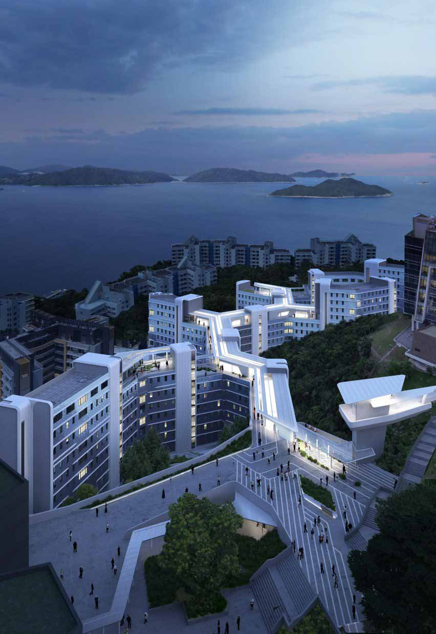 Дорожка на крыше здания студенческого общежития HKUST от Zaha Hadid Architects