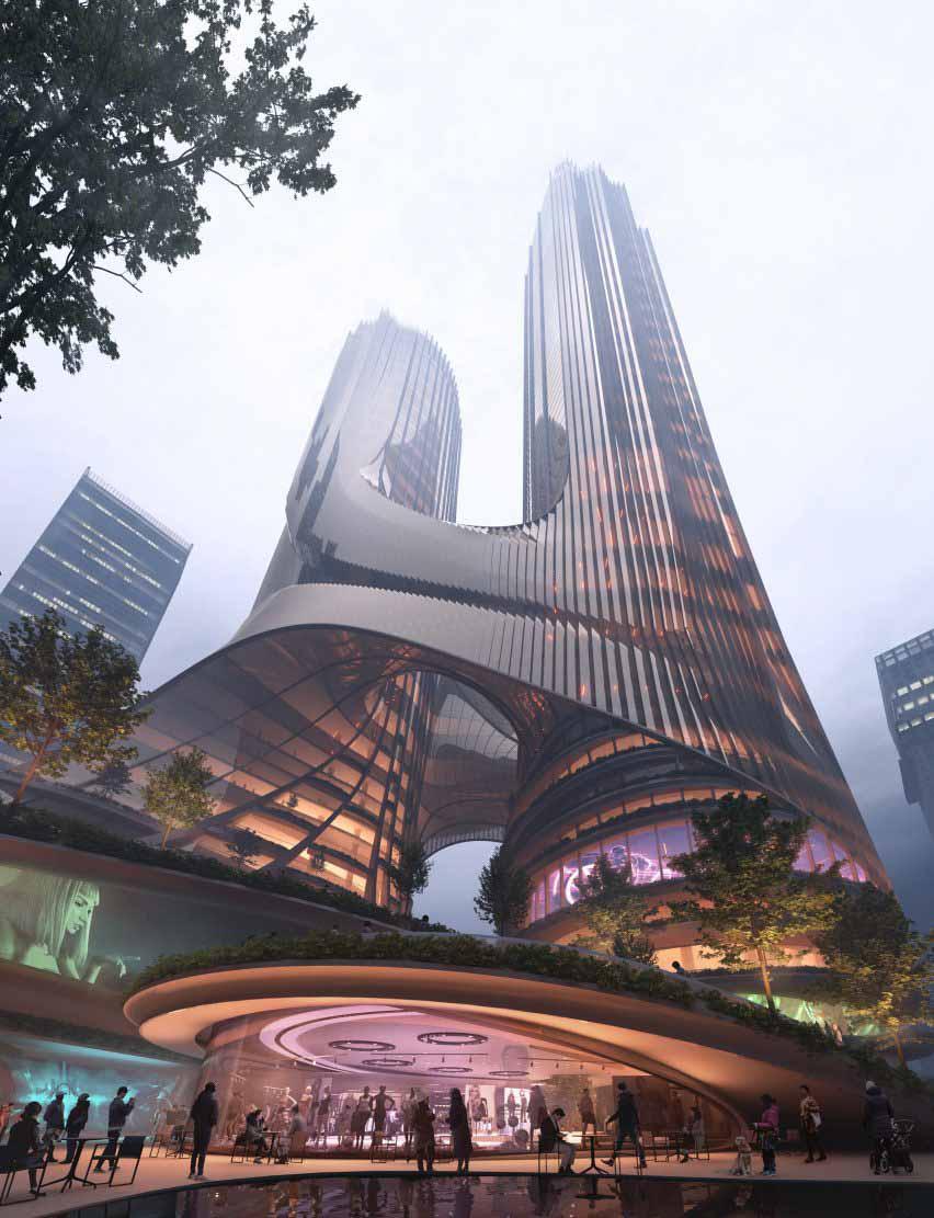 Изображение с террас башни C от Zaha Hadid Architects в Шэньчжэне