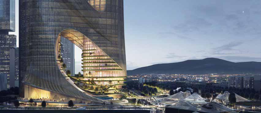 Изображение террас Tower C от Zaha Hadid Architects в Шэньчжэне