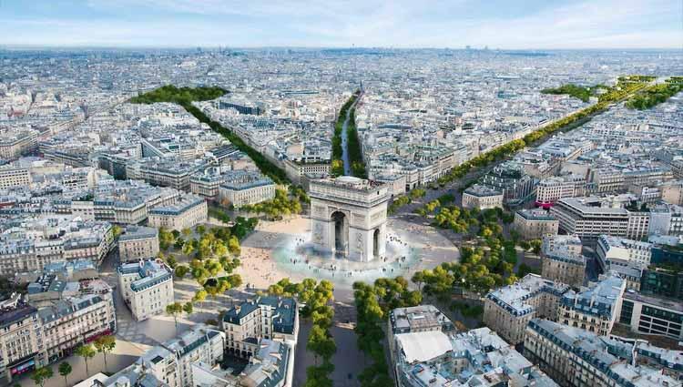 Париж превратит Елисейские поля в обширный городской сад, любезно предоставлено PCA Stream