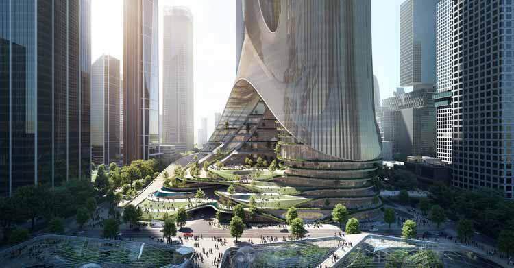 ZHA выигрывает конкурс на строительство башни C на базе супер штаб-квартиры Shenzhen Bay, башня C. Изображение предоставлено ZHA