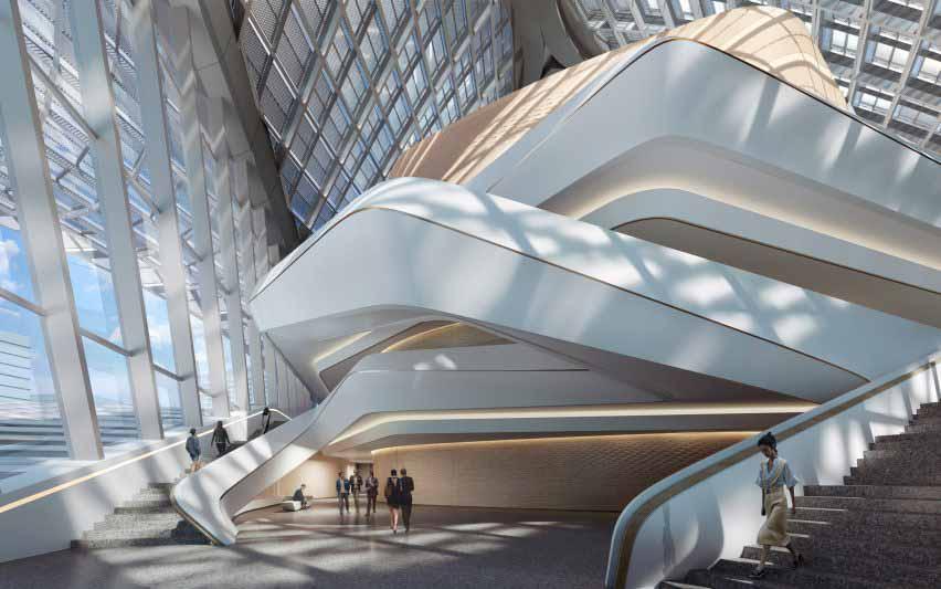 Складная лестница внутри китайского культурного центра от Zaha Hadid Architects