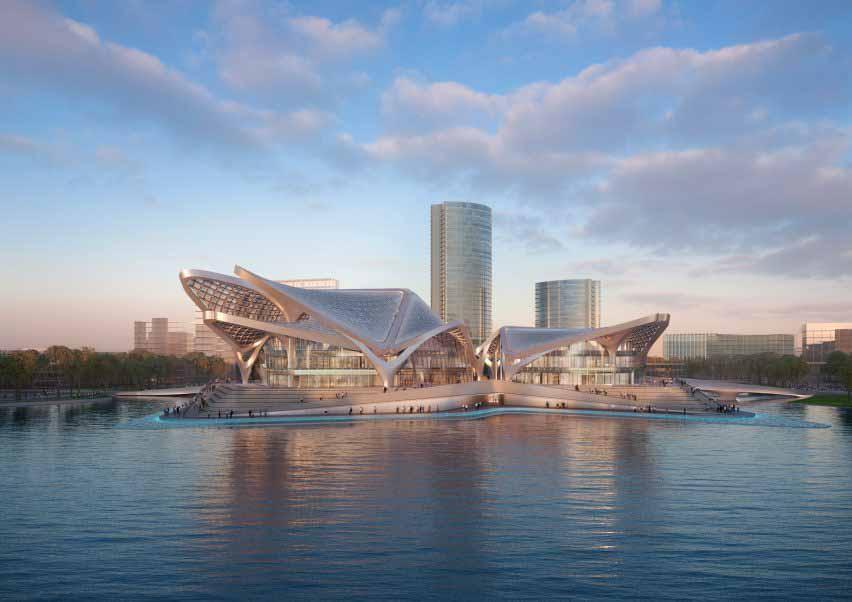 Озерный культурный центр от Zaha Hadid Architects на юге Китая.