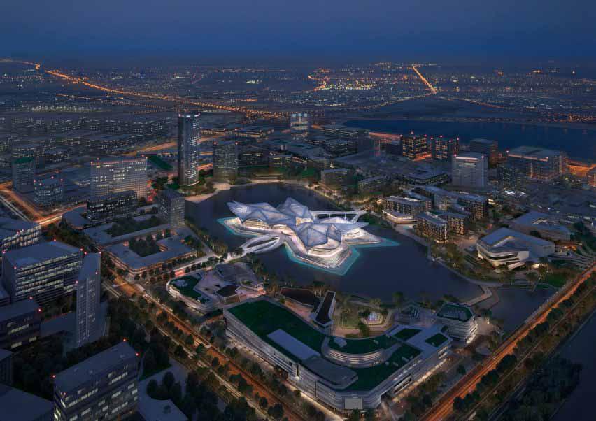 Вид с воздуха на культурный центр от Zaha Hadid Architects в Китае.