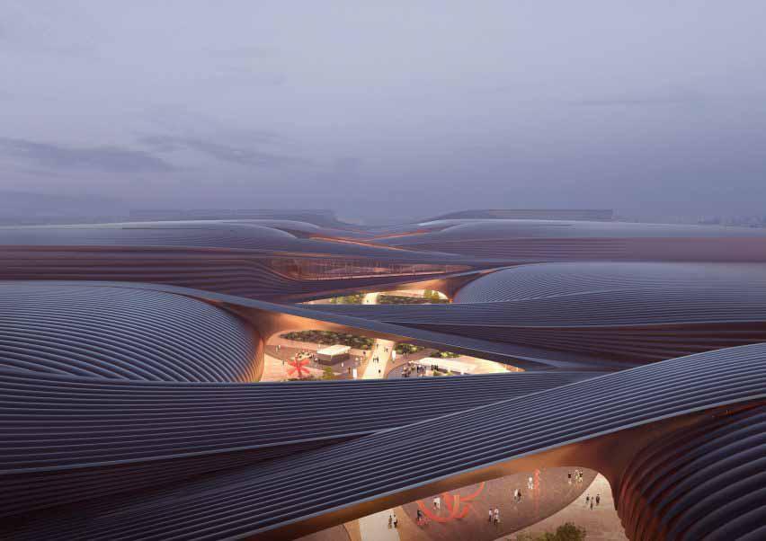 Полосатая крыша китайского выставочного центра