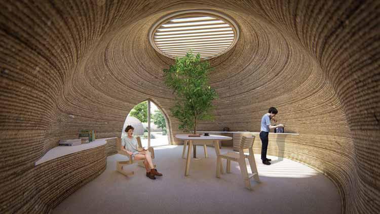 TECLA, среда обитания, напечатанная на 3D-принтере WASP и Mario Cucinella Architects. Изображение Cortesía de WASP