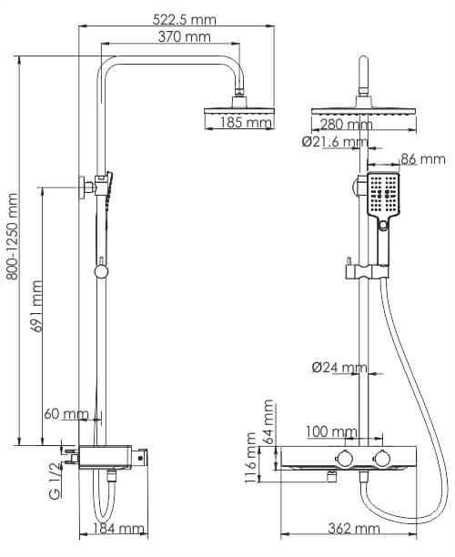 Душевая стойка WasserKRAFT A11301 Thermo