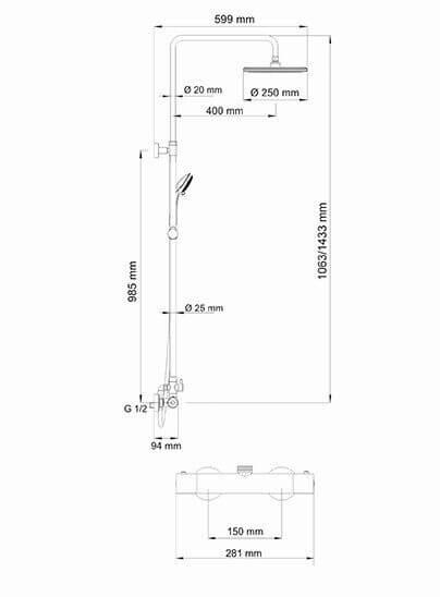 Душевая стойка WasserKRAFT A13302 Thermo