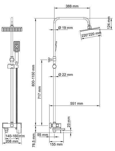 Душевая стойка WasserKRAFT A17701