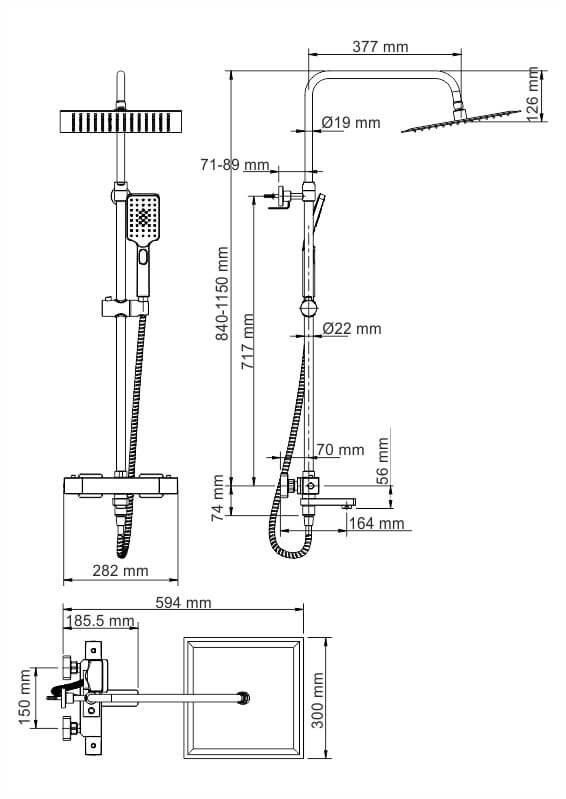 Душевая стойка WasserKRAFT A19901 Thermo