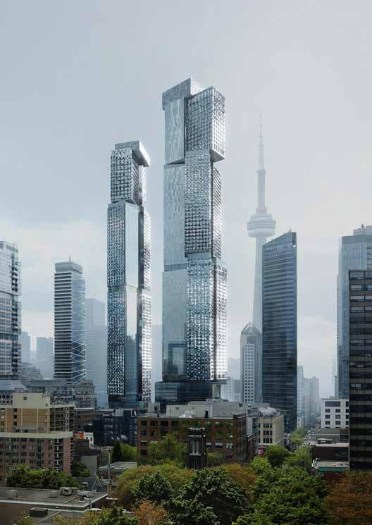 Новые визуализации показывают самое высокое здание в мире, спроектированное Фрэнком Гери, часть проекта King Street West в Торонто, любезно предоставлено Gehry Partners, LLP