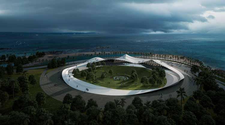 Соу Фудзимото представляет изображения общественного павильона на набережной Хайкоу в Китае, Соу Фудзимото. Изображение предоставлено Sou Fujimoto Architects
