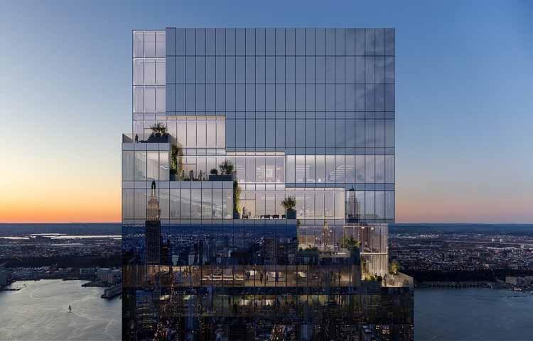 Спиральный небоскреб BIG возвышается над Нью-Йорком, любезно предоставлено Тишманом Спейером