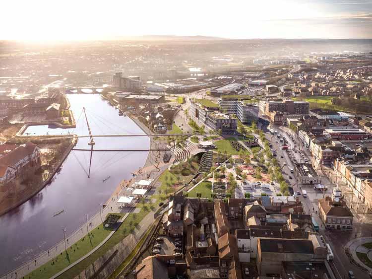 Стоктон: Хай-стрит снесут, чтобы освободить место для парка Риверсайд, любезно предоставлено Ryder Architects