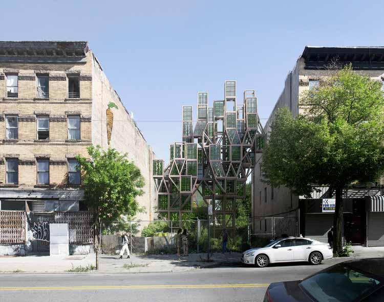 Framlab представляет модульные вертикальные городские фермы на улицах Бруклина. Предоставлено Framlab