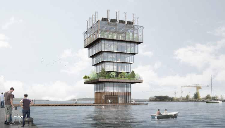 Studio NAB проектирует плавучую городскую фермерскую башню для городов будущего. Изображение © Студия НАБ