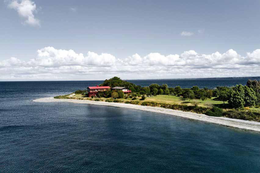 Гильермо Акунья выращивает Punta Chilen в лесу из выкрашенных в красный цвет сосновых свай.