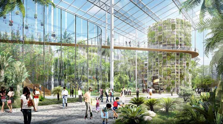 От фермы до вилки: как архитектура может способствовать увеличению поставок свежих продуктов, Sasaki представляет дизайн для Сунцяо, городского фермерского района площадью 100 гектаров в Шанхае © Sasaki