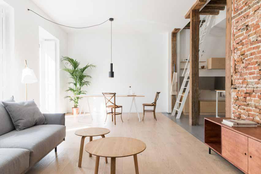 Квартира с белыми стенами и большой пальмой Кентия