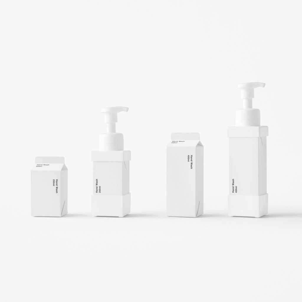 Nendo создает бумажные диспенсеры для мыла, которые выглядят как пакеты из-под молока