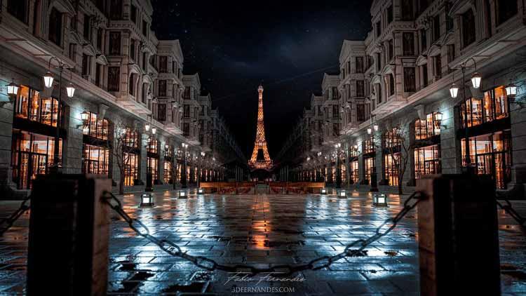 Парижская улица, визуализированная в Lumion 11 компанией 3D Fernandes.