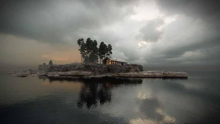 Зимний домик, разработанный Vårdal Arkitekter AS и визуализированный в Lumion 11 Бартошем Орлинским.