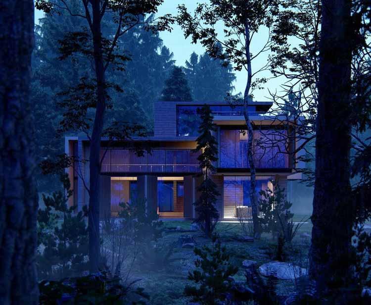 Дом в лесу (вечерний свет), модель предоставлена Диего Тапиа.