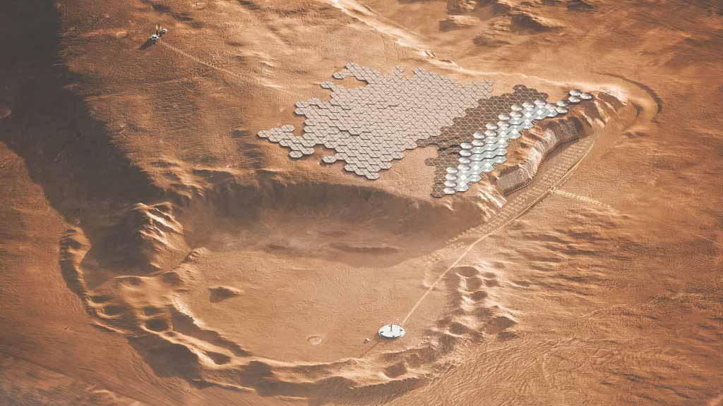 ABIBOO представляет город на скале как «будущую столицу Марса»