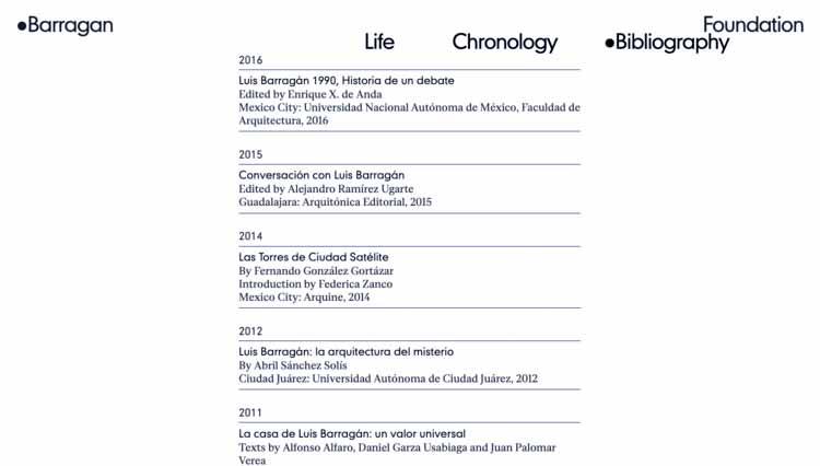 Раздел «Хронология». Изображение предоставлено Фондом Баррагана