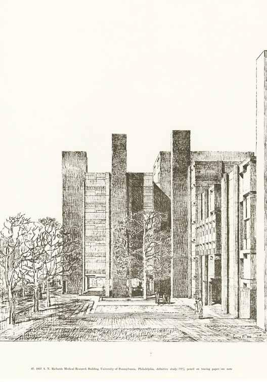 1957 А. Здание медицинских исследований Ричардса, Пенсильванский университет. Изображение предоставлено дизайнерами и книгами