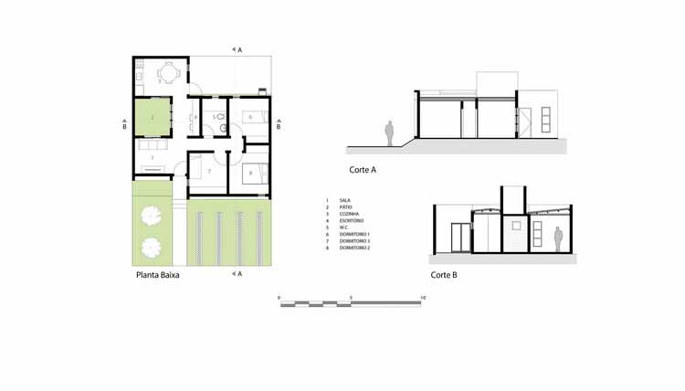 Planta e Cortes - Casa dos Caseiros / 24.7 arquitetura design