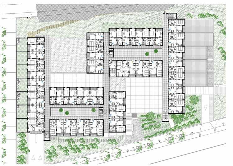 Planta - Habitação Social para idosos em Girona / Arcadi Pla Arquitectes