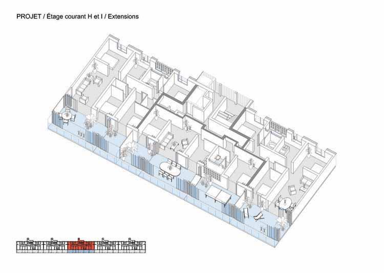 Isométrica - Transformação de 530 unidades hazelacionais em Bordeaux / Lacaton & Vassal + Frédéric Druot + Christophe Hutin architecture