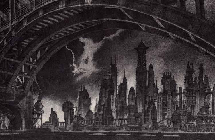 Архитектура в графических романах, Взгляд на запад через реку Готэм, Антон Ферст