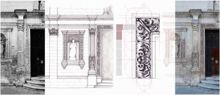 Не имеете опыта рендеринга? 4 метода, которые вы можете использовать вместо этого, Мариапия ди Лечче (рекомендованная, гибридная категория): реконструируйте с помощью рисунка. Рисунок от руки для графического анализа. Изображение предоставлено Музеем сэра Джона Соуна.