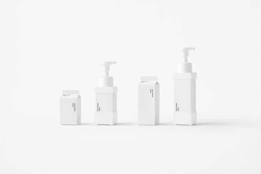 Nendo представляет сменные дозаторы мыла, которые выглядят как картонные коробки из-под молока