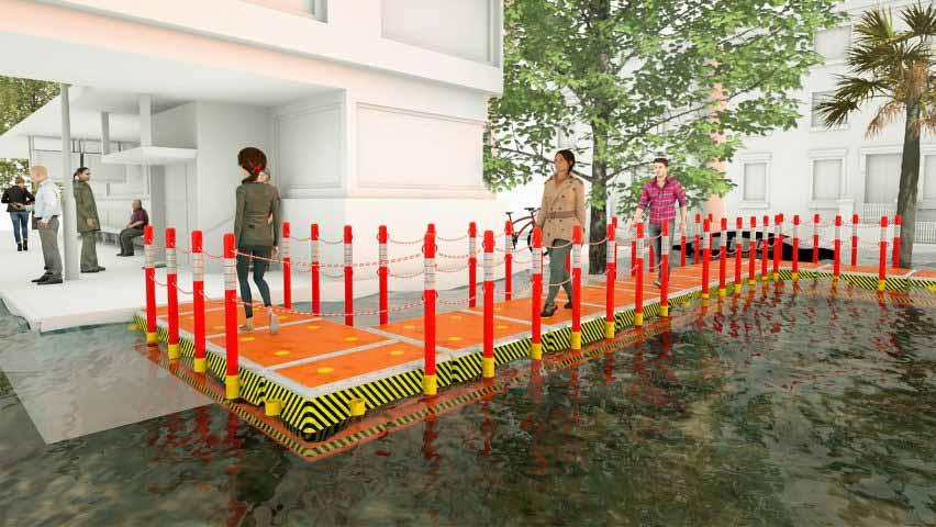 Визуализация аварийного плавучего перехода для наводнений